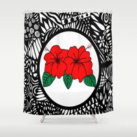 murakami Shower Curtains featuring Red Hibiscus Zen by Marcy Murakami