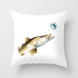 Snook Chasing a Blue Crab Throw Pillow