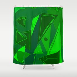 Cages at the Border Green #Abstract #Geometric #PoliticalArt Shower Curtain