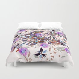 Beautiful watercolor flowers. Blue morning filed Duvet Cover
