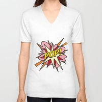 comic book V-neck T-shirts featuring Comic Book POP! by The Image Zone