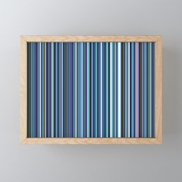 Old Skool Stripes - Blues Framed Mini Art Print