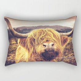 Highland Cow Nose Barbed Wire Fence Color Rectangular Pillow