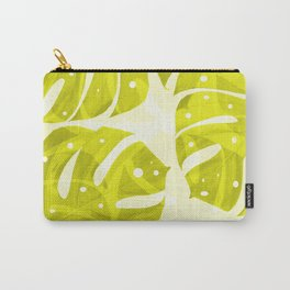 Lime Green Monstera Leaves Light Background #decor #society6 #buyart Carry-All Pouch
