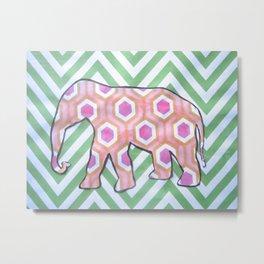 Elephant- Green Chevron Metal Print