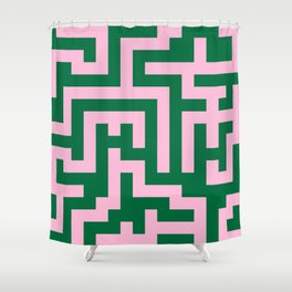 Cotton Candy Pink and Cadmium Green Labyrinth Shower Curtain
