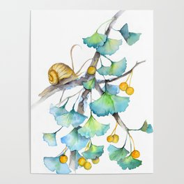 Ginkgo and A Snail Poster