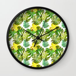 Watercolor monstera leaves illustration Wall Clock