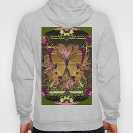 Ornate Mauve Swallow Tailed Butterfly Yellow-Khaki Design Hoody
