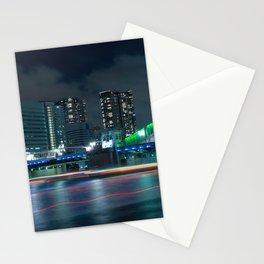 Fantastic Inner City Bridge Lit Up At Night Skyscraper Skyline Timelapse Ultra HD Stationery Cards