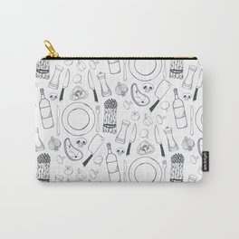Black hand drawn ratatouille sketched pattern Carry-All Pouch