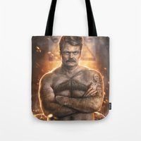 swanson Tote Bags featuring Ron ****ing Swanson by Sam Spratt