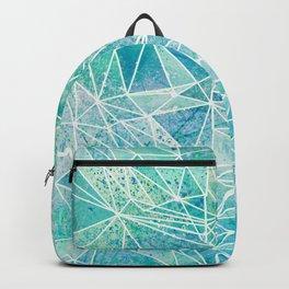 aquamarine with white geometry space Backpack