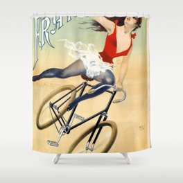 Poster vintage french bicycle girl Shower Curtain