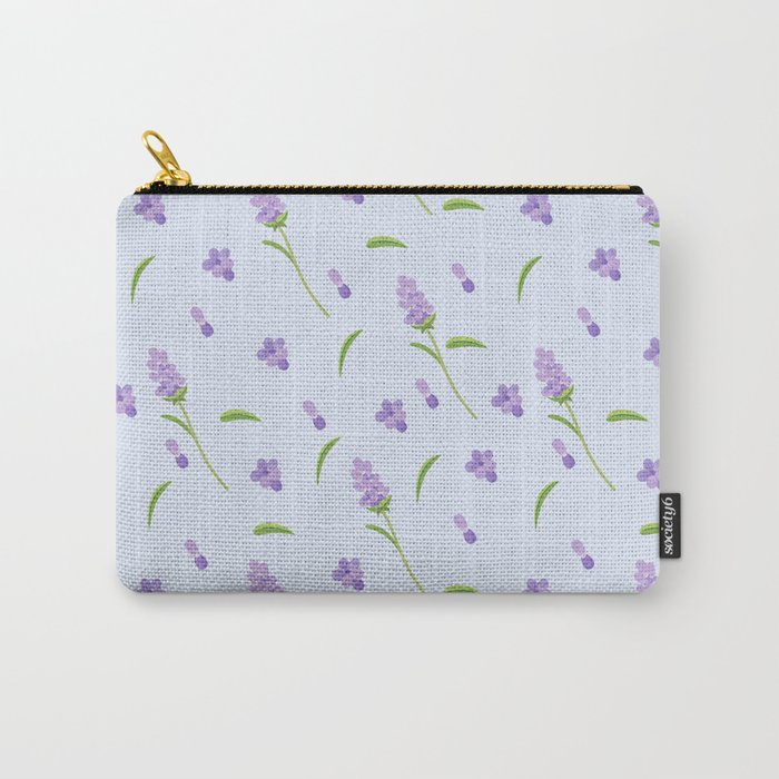 Lilac violet green abstract modern floral illustration Carry-All Pouch