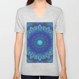 Blues  Watercolor Flower Mandala Unisex V-Neck