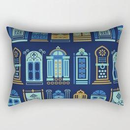 Moroccan Doors – Navy Palette Rectangular Pillow