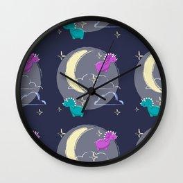 Blue and pink cute dinosaurus, night, moon and stars Wall Clock