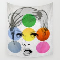 60s Wall Tapestries featuring Twiggy by SEVENTRAPS