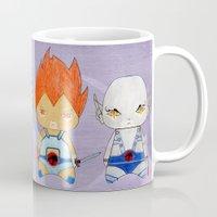 thundercats Mugs featuring A Boy - A Girl - Thundercats by Christophe Chiozzi
