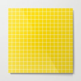 Sizzling Sunrise - yellow color - White Lines Grid Pattern Metal Print