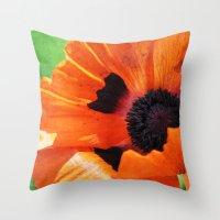 poppy Throw Pillows featuring POPPY by Teresa Chipperfield Studios