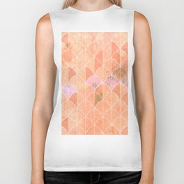 Mermaid scales. Peach and pink watercolors. Biker Tank