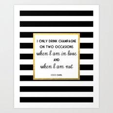 Coco Gold Champagne in love quote Art Print