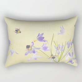 Crocuses and bumblebees Rectangular Pillow