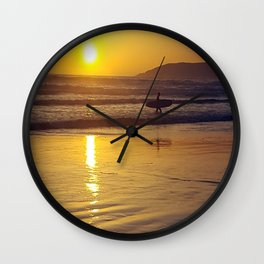 Pismo Beach Surfer in the Sunset Wall Clock