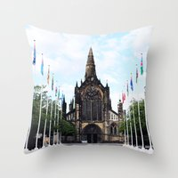 medieval Throw Pillows featuring medieval glasgow by seb mcnulty