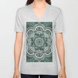 Mandala Subtle Green Colorburst Unisex V-Neck