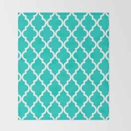 Aqua Moroccan Quatrefoil Pattern Throw Blanket