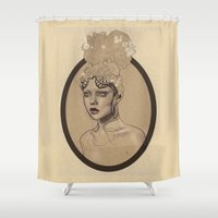 queen Shower Curtains featuring queen  by Miriam Skiba