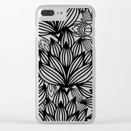 Modern hand drawn black white watercolor floral Clear iPhone Case