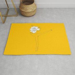 Gardenia Girl · Flower Woman drawing, white, honey gold yellow background, simple line Rug