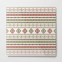 Aztec Rust Green Black Cream Mixed Motifs Pattern Metal Print