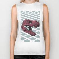 t rex Biker Tanks featuring T-Rex by Blake Makes Tees