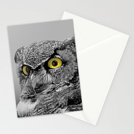 Contemporary Black & White Great Horned Owl Bird Yellow eye Art A515 Stationery Cards