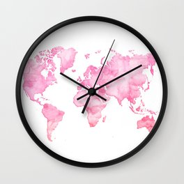 Pink watercolor world map Wall Clock