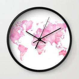 Pink watercolor world map Wall Clock
