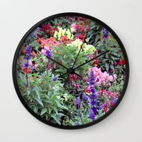 sweden Wall Clocks featuring Sweden Flowers by Cynthia del Rio