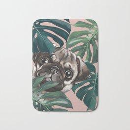 Pug with Monstera Leaf Bath Mat