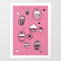 cupcakes Art Prints featuring Cupcakes! by Duru Eksioglu