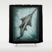 biology Shower Curtains featuring Sawfish - Acrylic Painting by Amber Marine