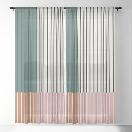 Color Block Line Abstract V Sheer Curtain