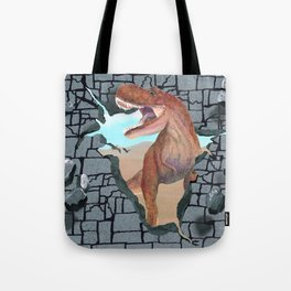 Hungry Dinosaur Smashes Through the Wall Tote Bag