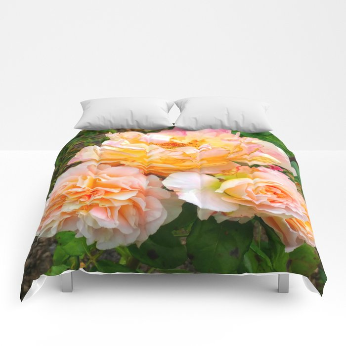Bunch of Orange and Pink Roses Comforters