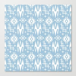 Mid Century Modern Atomic Space Age Pattern Pale Blue Canvas Print