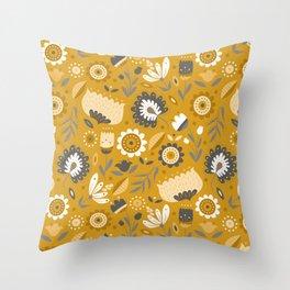 Floral Folk Art in Mustard Yellow Throw Pillow